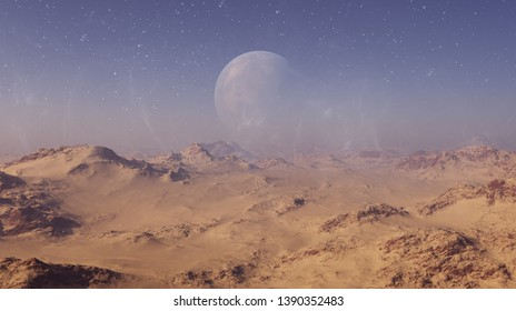 3d rendered Space Art: Alien Planet - A Fantasy Desert Landscape with blue skies and stars