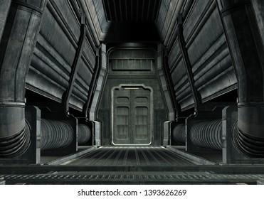 3D Rendered Spaceship Hallway - 3D Illustration