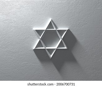 A 3d rendered Star of David on a dramatically lit whte textured wall.