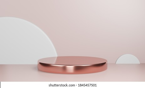 3d rendered studio mock up background for product presentation,  with circle shapes, podium on the floor. minimal pink gold colors.