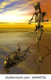 3D rendered surreal skeleton jogging past prone skeleton with sunset.  Symbolizes perserverance, strength, power, health and endurance.