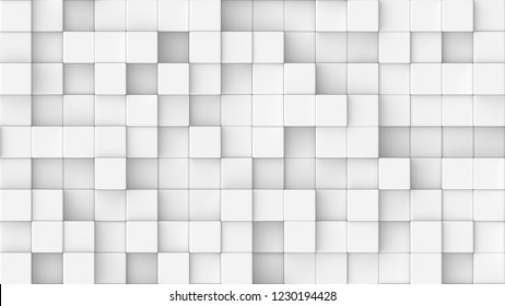 3d rendered texture of cubes at different heights on a white background.