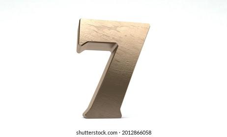 3d rendered textured metallic golden isolated number 7
