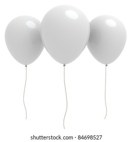 3d rendered three white balloons with copyspace isolated on white background