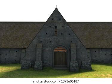 3D Rendered Tithe Barn on White Background - 3D Illustration