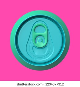 3d rendered top view of an aqua and cyan soda can on a pink background.