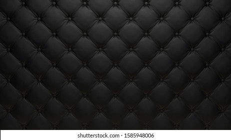 3d rendered wall covered with dark tufted leather cushion pattern