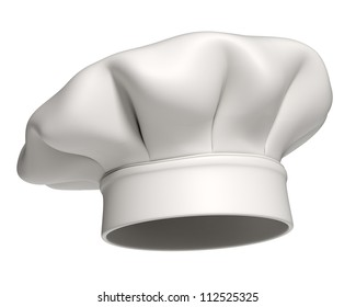 3d rendered white chef hat isolated on white background