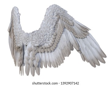 3D Rendered White Fantasy Angel Wings on White Background - 3D Illustration