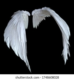 3D Rendered White Fantasy Angel Wings Isolated On Black Background - 3D Illustration