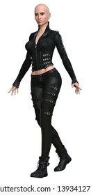 3D Rendered Woman with Black Leather Clothing - 3D Illustration