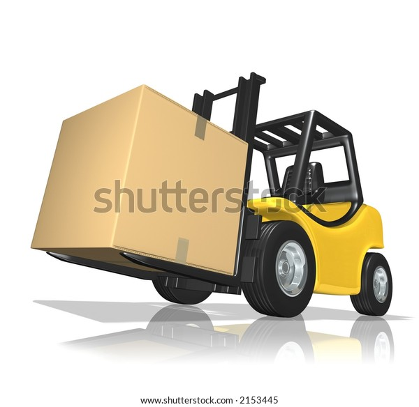 3D Rendered yellow forklift with big box