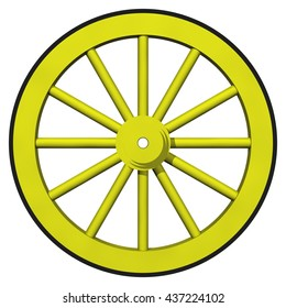 3D Rendered yellow wagon wheel ideal for an icon or clip art. Isolated on a white background.