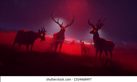 3d rendered zombie animals in red fog