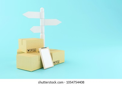 3d renderer illustration. Carboard boxes with sign post. Delivery concept.