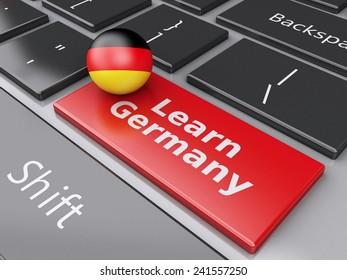3d renderer illustration. Learn Germany on computer keyboard. Online education concept