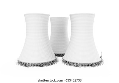 3d renderer illustration Nuclear power plant isolated white background