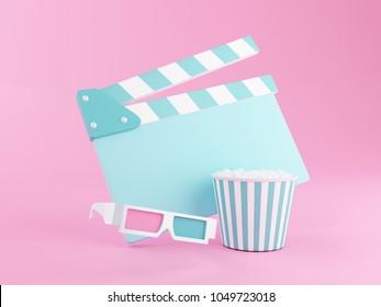 3d renderer illustration. Popcorn, clapperboard and 3d glasses. Cinematography concept.