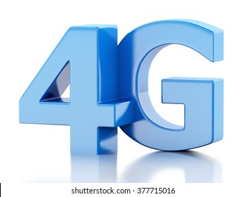 3d renderer image. 4G LTE wireless sign. Mobile telecommunication concept. Isolated white background