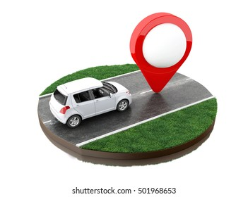 3d renderer image. Car on the road with map pointer. Navigation concept. Isolated white background.