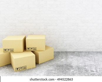 3d renderer image. Carboard boxes. Delivery concept.