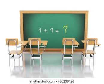 3d renderer image. Classroom with chairs and chalkboard with maths problems. Education concept. Isolated white background.