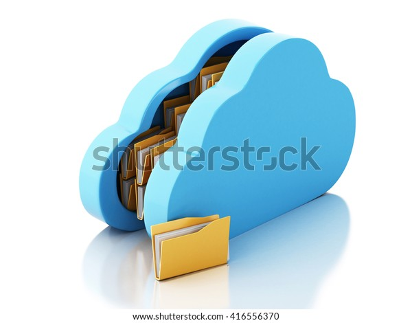 3d renderer image. File storage in cloud. Cloud storage concept. Isolated white background.