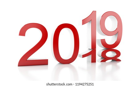 3d renderer image. New Year 2019 isolated on white background.