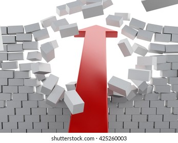 3d renderer image. Red arrow breaking brick wall. Success concept. Isolated white background.