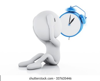 3d renderer image. Stressed white people with alarm clock on white background