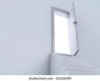 3d renderer image. White  Stairs to the doors of heaven.