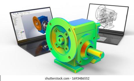 3D renderign - Gear reducer computer aided design analysis
