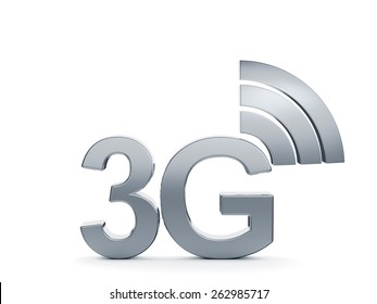 3d renderin of 3G cellular high speed data connection concept logo