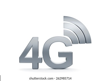 3d renderin of 4G cellular high speed data connection concept logo