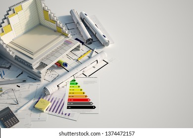 3D renderin of a building cross section showing insulation layers and building details on top of blueprints and a energy efficiency chart