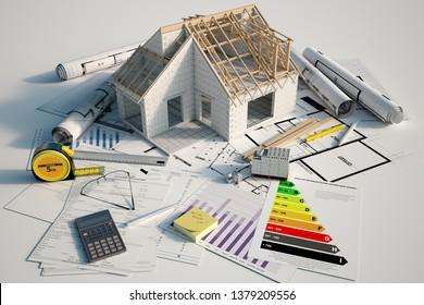 3D-Renderin eines im Bau befindlichen Hauses auf Bauplänen, Hypothekenformularen und einer Energieeffizienzkarte