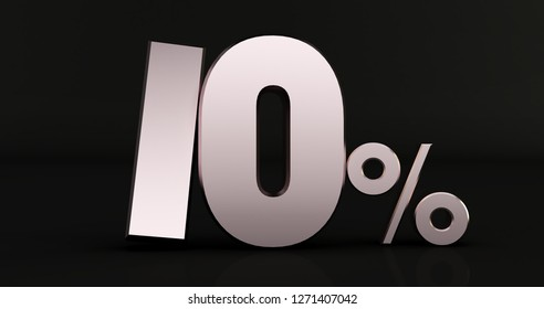3D rendering of 10 percent on Black background. 3d shiny metal discount collection