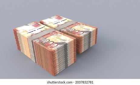 3d rendering of 1000 Kenyan shillings bundles stack on plain background