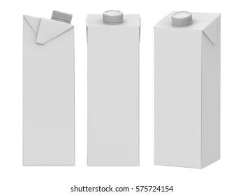 3D rendering 1L Milk Carton Box with Screw Cap Mock-up