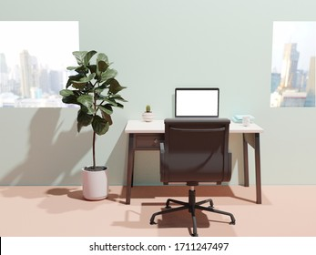 3D rendering 2 notebooks blue cover, laptop, coffee in a white mug and cactus on the desk with a chair Potted plants in The room has views of the tall buildings , work at home, 3D illustration