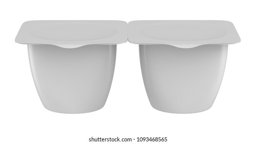 3D rendering 2 pack plastic tub bucket container for dessert, yogurt, ice cream, sour cream, snack, butter, margarine or cheese, Mock Up Template