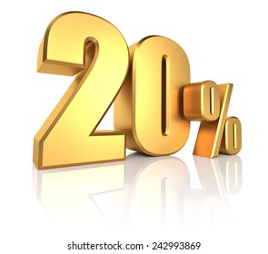3D rendering of 20 percent in gold metal letters on white background
