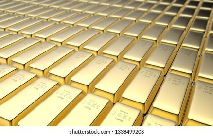 3D rendering of 24 karat gold ingots in a vault