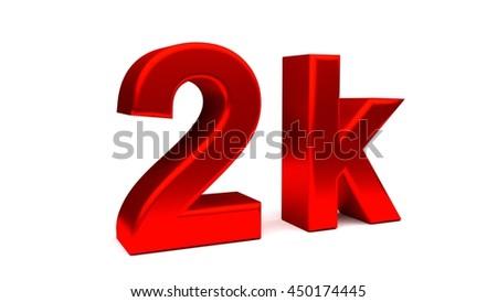 3 D Rendering 2 K Text Big Letters Stock Illustration 450174445