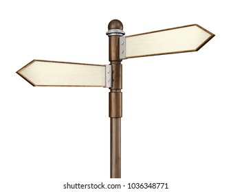 3D rendering of 2-way crossroads signpost intersection indicating travel or indecision with a wooden look