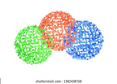 3d Rendering of 3 Colors mosaic