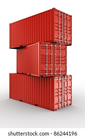 3d rendering of 3 stacked shipping containers