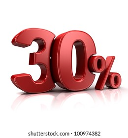 3D rendering of a 30 percent in red letters on a white background