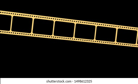 The 3d rendering of 35mm film strip scan with signs of usage with isolated background