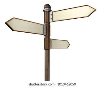 3D rendering of 3-way crossroads signpost indicating travel or indecision with a wooden look